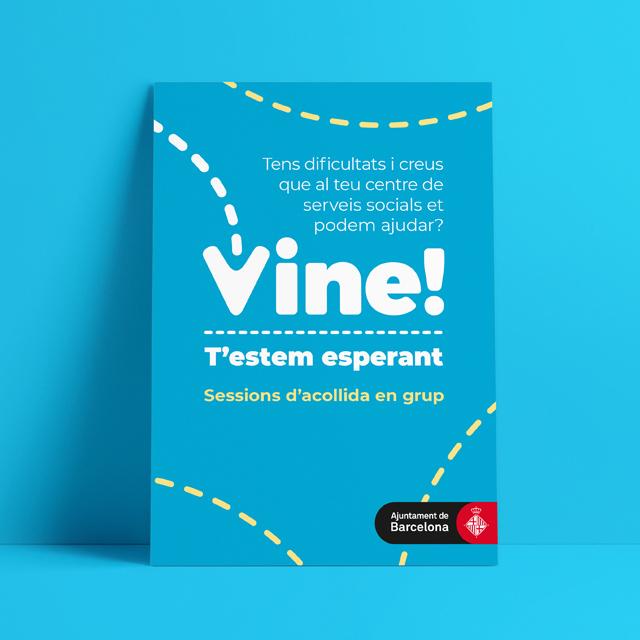 Gràfica per campanya Vine! de Serveis Socials de l'Ajuntament de Barcelona